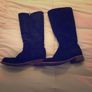 Knee high black suede UGG boots